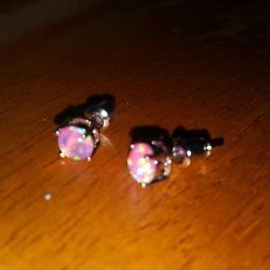 Jewelry - NEW! Gorgeous 6mm Pink Fire Opal Earrings